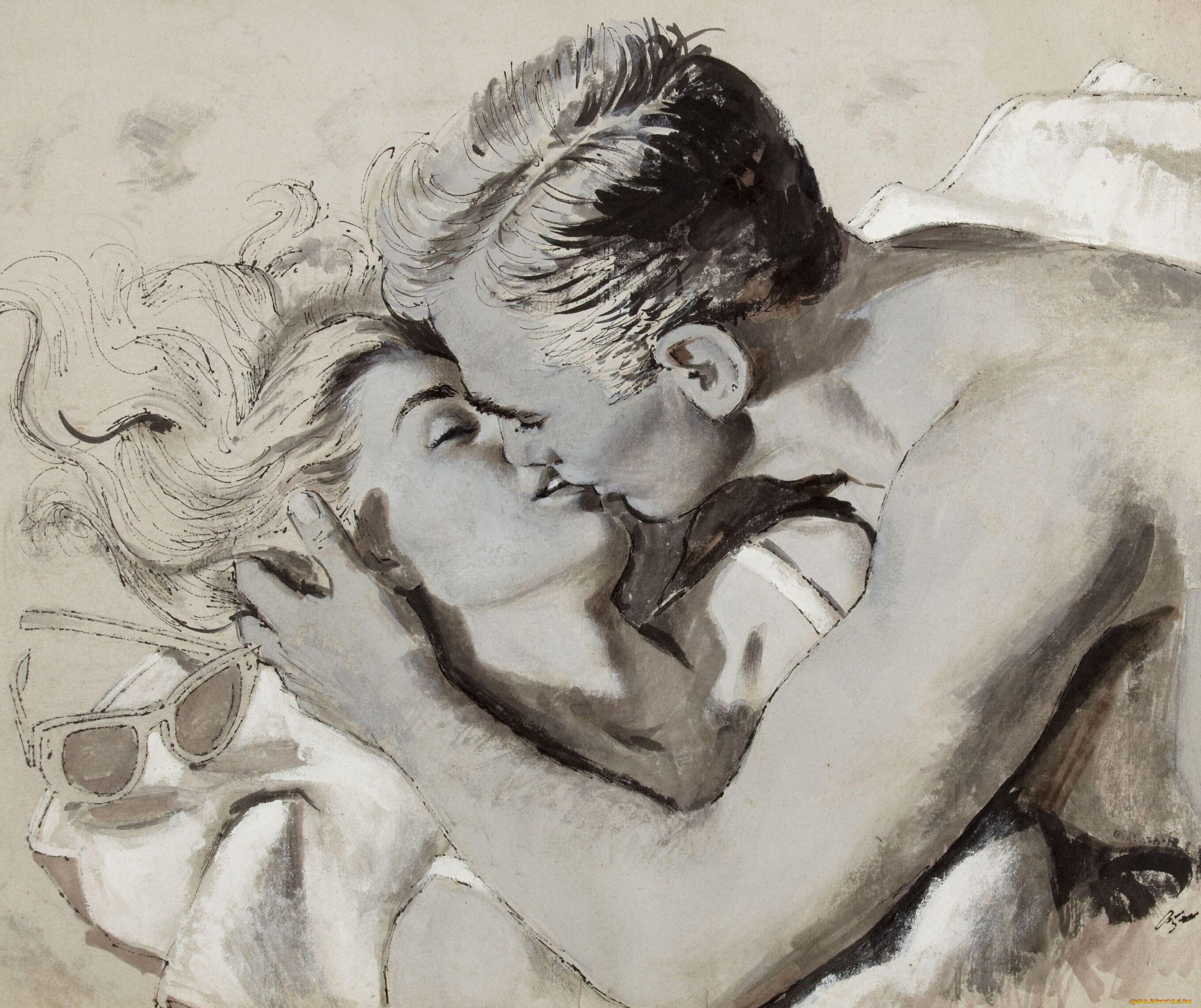 Картинки рисунки женщина с мужчиной
